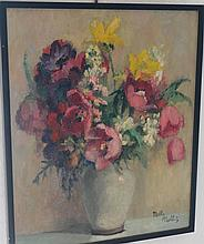 Nelly Nollet, framed oil on board, floral still life