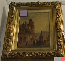 Reira, Early 20th century Pair of Landscapes oil on canvas signed and dated lower left, some damage to both gilded plaster frames