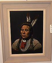 W. Magner, 20th century, Portrait of an American Indian, 1964, oil on velvet