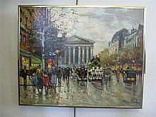 Manner of Antoine Blanchard, French (1910-1988), Paris street scene with view of l'Opera, oil on canvas, 16 x 20 inches