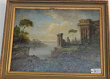 Large oil on canvas, Romantic landscape reproduction, framed.