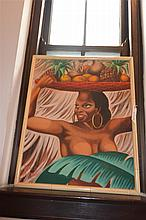Renee Harcombe, Haitian, Native woman with basket of fruit, oil on canvas