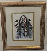 B. Thomason, American, 20th century, Portrait of an American Indian, watercolor on paper, 6 1/2 x 4 1/2 inches
