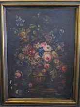 Floral still life painting signed M