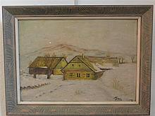 Harold Everette Bayer, American (1900-1996), Winter Farm House, oil on board, 16 x 11 inches