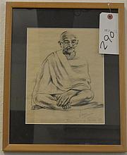 Portrait of Mahatma Gandhi, charcoal drawing by Vikas, a cousin of Gandhi, framed