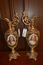 Pair of late 19th century/ early 20th century painted porcelain and ormelu