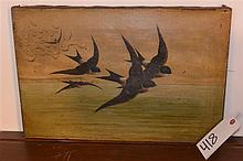 Antique unframed oil on canvas, birds in flight