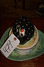 Painted and glazed pottery covered entree dish with game bird molded lid