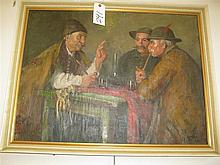 Hans Horvath, Austrian, 20th century, Tavern Discussion, oil on canvas, 24 x 32 inches