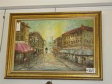 Oil on canvas painting of a street scene