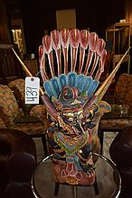 Thai polychrome wooden sculpture of