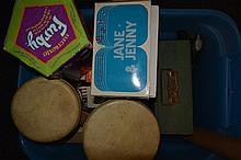 Box lot of new in box dolls, bongos, Gilbert microscope, etc