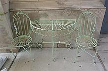 Metal outdoor console table with two chairs