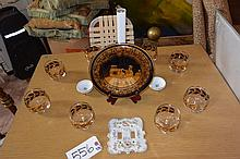 Collection: silverplated candle stand, Greek display plate, glass and porcelain