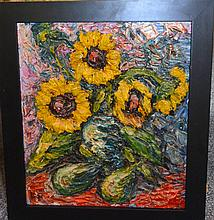 Pair of impasto framed paintings, street scene and still life