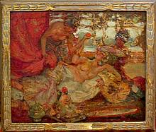 Fred Greene Carpenter, American (1882-1965), Harem scene, oil on board, 15 x 18 inches