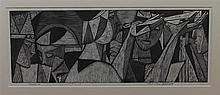 Charles Francis Quest, American (1904-1993), Abstract female figures, 1950, wood engraving, 4 1/2 x 12 inches