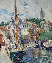 Thomas P. Barnett, American (1870-1929), Gloucester Docks, oil on canvasboard, 18 x 14 1/2 inches