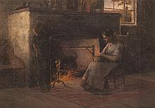 Paul E. Harney, Jr., American (1850-1915), Wife knitting fireside, oil on canvas, 9 x 13 inches