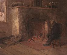 Paul E. Harney, Jr., American (1850-1915), Man sitting fireside, oil on board, 9 x 12 inches