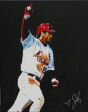 Zack Smithey, American (B. 1982), David Freese, oil on canvas, 20 x 16 inches