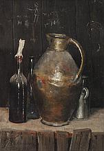 George W. Chambers, American (1857-1897), Still life with jugs, oil on artist's board,