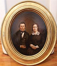 American School, 19th century, Three-quarter length portrait of a man and woman, oil on canvas, 12 x 9 1/2 inches