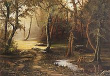 American School , 19th century, Swamp scene, oil on canvas, 30 x 40 inches