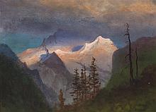 Albert Bierstadt, American (1830-1902), Mountain landscape, oil on paper, 14 x 19 inches