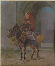 John Dare Howland, American (1843-1914), Woman riding a donkey, oil on board, 14 3/4 x 12 3/8 inches
