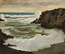 Frederick Judd Waugh, American (1861-1940), Crashing waves along the shore, oil on canvas, 20 x 23 3/4 inches