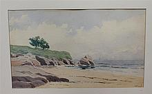 H. L. French, early 20th century, Coastal scene, watercolor on paper, 8 x 13 1/2 inches