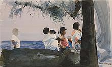 Dean Mitchell, American (b. 1957), Figures at Shore, watercolor, 11 x 18 inches (sight)