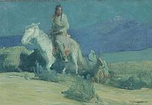 Oscar Edmund Berninghaus, American (1874-1952), Indians on the Trail, oil on board, 8 1/2 x 12 1/2 inches