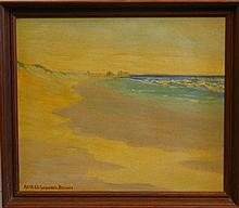 Edith Chippendale Beimes, American (20th century), Shoreline, oil on canvas, 11 1/2 x 13 1/2 inches