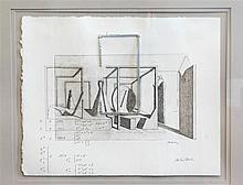 Michael Burke, American (B. 1944), drawing with metal wire, graphite on paper with metal, 11 1/2 x 14 1/4 inches