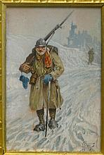 Herbert M. Herget, American (1885-1950), WWI French Soldier in Winter, watercolor on paper board, 6 5/8 x 4 1/2 inches