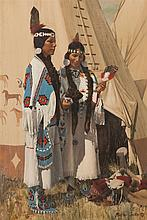 Roger Cooke, American (b. 1941), Nez Perce sisters, oil on panel, 22 x 15 inches