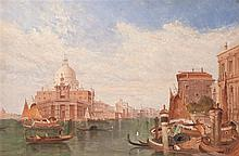 Alfred Pollentine, British (1836-1890), The Dogana, Venice, oil on canvas, 16 x 24 inches