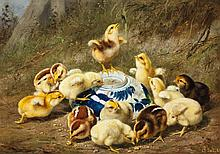 Arthur Fitzwilliam Tait, American (1819-1905), Chicks around a blue bowl, oil on panel, 10 x 14 inches