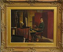 George H. Wimpenny, English, 20th Century, In The Studio, oil on canvas, 14 x 18 inches