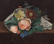 Johan Laurentz Jensen, Danish (1800-1856), Still life with flowers, oil on board, 10 1/2 x 12 3/4 inches