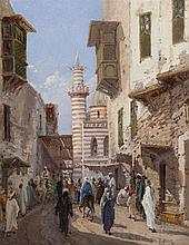 Gustavo Simoni, Italian (1848-1921), Cairo Street, oil on panel, 11 1/2 x 9 inches