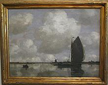Gilbert Von Canal, German (1849-1927), Sailboat, oil on canvas, 30 x 40 inches