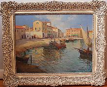 E. Balingale (sp?), Italian (20th century), Mediterranean coastal scene, oil on masonite, 20 x 25 1/2 inches