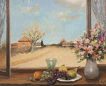 Marcel Dyf, French (1899-1985), View from a window with still life on a ledge, 1978, oil on canvas, 23 1/2 x 28 1/2 inches