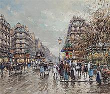 Antoine Blanchard, French (1910-1988), Rue Lafayette, oil on canvas, 18 1/4 x 21 inches