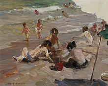 Louis Giner Bueno, Spanish (b. 1935), Ocean scene with children playing on beach, oil on canvas, 12 1/4 x 15 1/2 inches (sight)