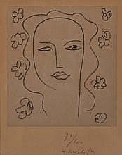 Henri Matisse, French (1869-1954), Madeleine-Etude, 1950, lithograph, chine-applique, 8 x 7 inches